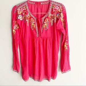 Johnny Was Embroidered Babydoll Boho Tunic Top
